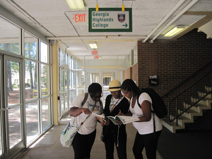 From left: Christian Johnson, Ana Laden Mack, and Chelsie Okpodu gather at GHC's Marietta campus. Photo by Brandon Soto.