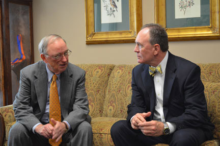 Hank Huckaby (left) meets with Georgia Highlands President Randy Pierce. Photo by Kaitlyn Hyde.