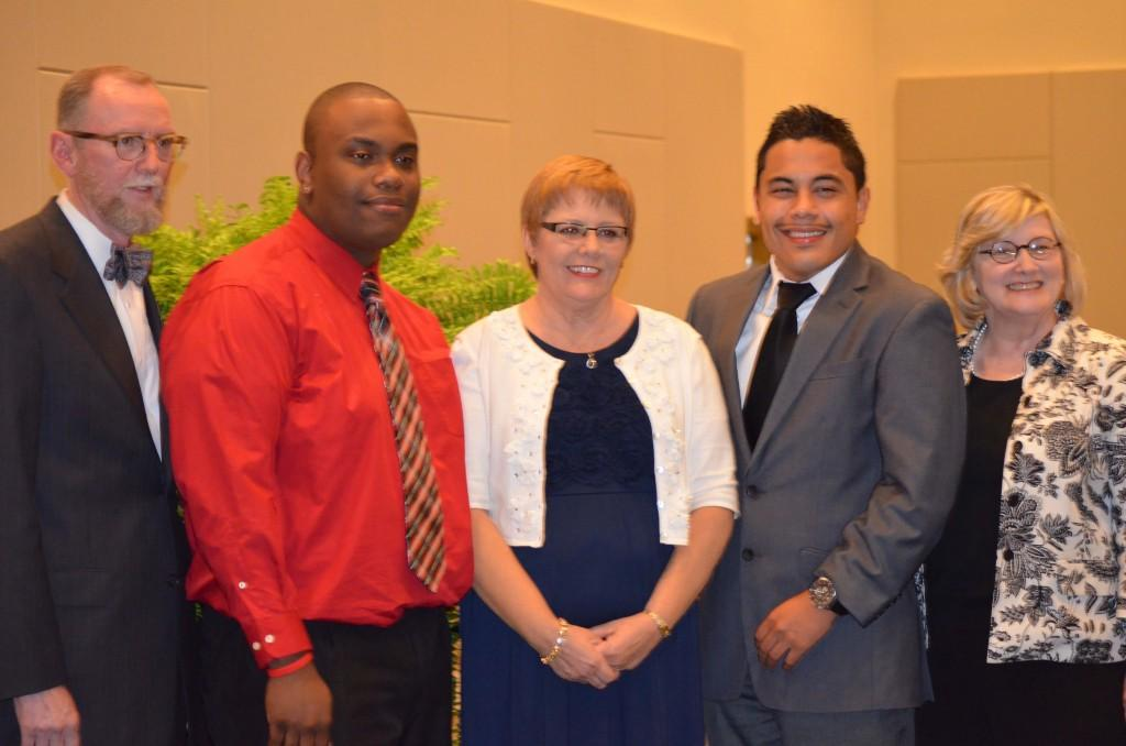 (From Left) Rob Watts, William Gourdine, Christie Boyd, Abraham Ortiz and Renva Watterson attend the Honors Assembly.  Photo By Kaitlyn Hyde