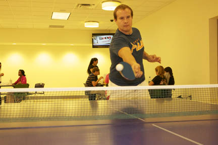 Douglasville student Tanner Wakem enjoys game of pingpong in newly outfitted student center. Photo by Cole McElroy.