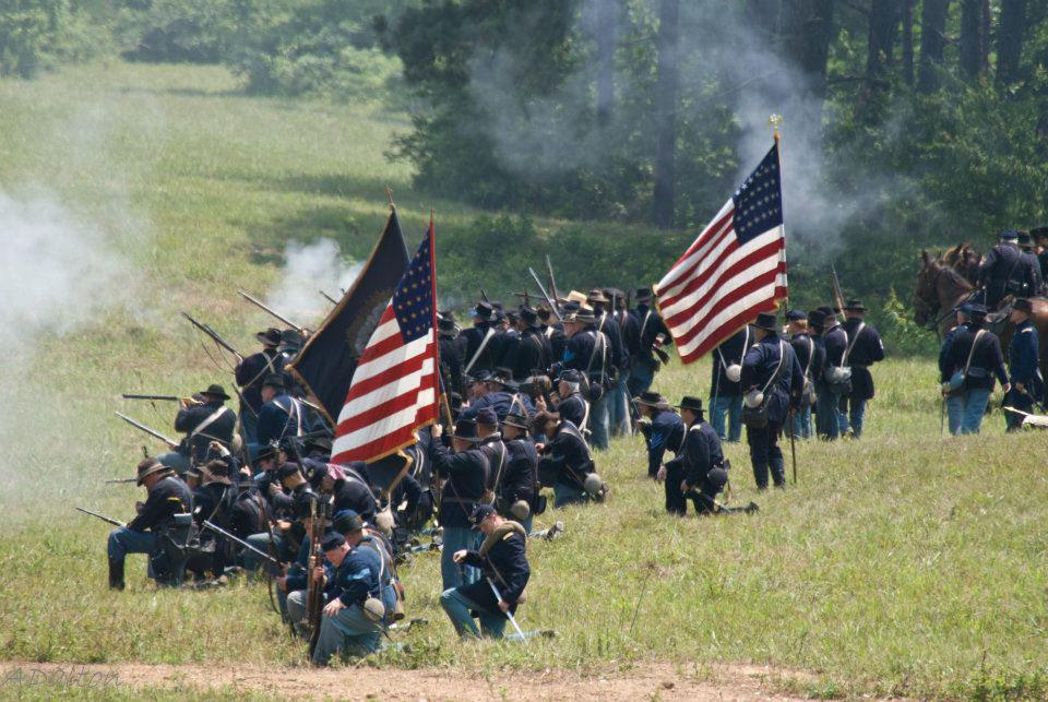 The Georgia Division Re-enactors Association portrays Union soldiers as they re-create the Battle of Resaca. Photo contributed.