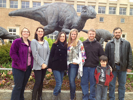 (From left) Jasmine Olander, instructor of biology; Camille Pace, instructor of mathematics; Alexandra MacMurdo, lecturer of communication; Jayme Feagin, assistant professor of history; Allen Easton, assistant professor of chemistry and Bronson Long, assistant professor of history, took several GHC students on a trip to the Fernbank Museum of Natural History. Photo taken by Gayle Golden.