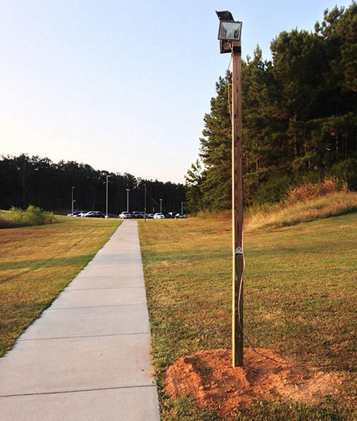 New lighting on the Cartersville campus helps students to feel safer while walking to their cars at night. Photo taken by Tatiana Smithson.