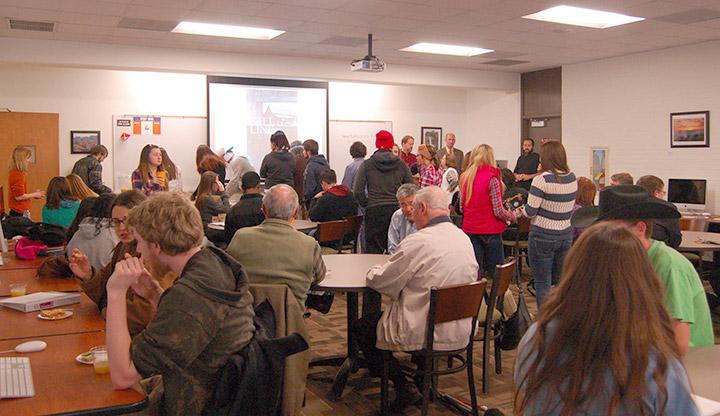 There was standing room only in the Floyd Library's Three Rivers Room during Starnes' discussion. Photo by Pedro Zavala