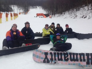 Instructor Travis (front) with students (from left) Max Deiters, Paul Tidwell, Stephanie Proffitt, Cheyenne Case, Lindsey Grenier and Tyler Brannon as they take a break on the slope contributed