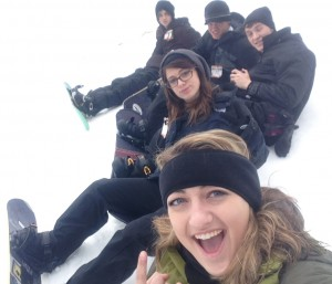 (from bottom) Cheyenne Case, Lindsey Grenier and Ian McGraw take a break from snowboarding to take a photo with their fellow snowboarders Will Henderson and Ross McGrew contributed