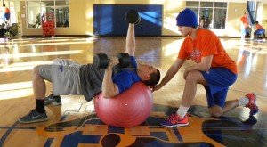 (from let) Mitchell Mannino and Andy Mocahbee exercises to prepare for the inaugural season of the GHC baceball team by Tatiana Smithson
