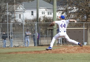 Tyler Elwer pitches at the game against the Cleveland State Cougars. Photo by Antonio Garcia