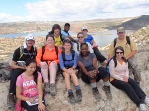 Students (front left) Annay Perez, (middle) Randy Bell, Megan Burkhalter, Megan Oehlson, Kandise McHenry, Patricia Loewer, (back) Lex Vick, Victor Williams, Hannah Morris, Angela Coyle, Edwin Whitworth enjoy the view on a Geology trip.