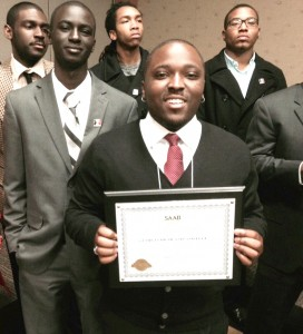 B2B members accept award at the SAAB Conference.  From left: Caleb McCrary, Roderick Presswood, Demario Blackwell, Qwaunzee Jones and Reggie May. Photo contributed.