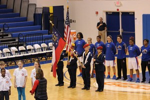 Colorguard, chorus, and players by Adam Hatcher