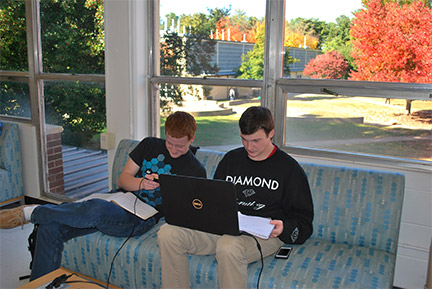 GHC students Gerald Ferguson, left, and Jordan Hendrix, right, studying. Contributed.