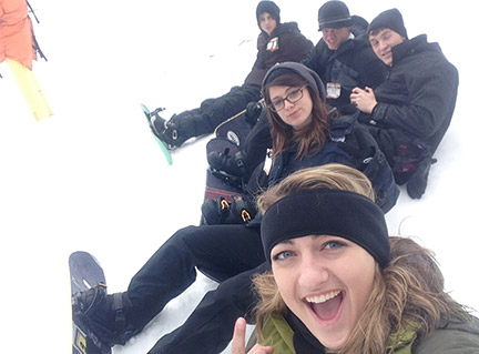 January: GHC students take a break from snowboarding to snap a picture. Contributed.