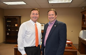 September: Dr. Green(left) with Senator Chuck Hufstetler(right) begins his GHC presidency. Photo by Jeremy Huskins.