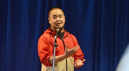 Slam poet G. Yamazawa performs on Floyd campus