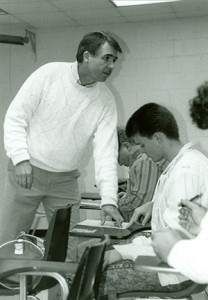 Ken Weatherman shows students how to register to vote on Georgia Highlands College's Voter Registration day, Jan. 29, 1992. File photo.