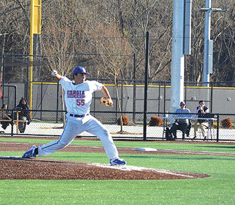 Justin Pedone pitches at the  chargers home opener, feb. 7, against Roane State. Photo by Shelby Hogland
