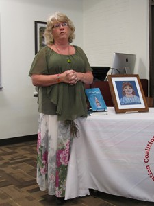 Susan Claxton discusses her newly published book in the Floyd Library. Callie Stokes.