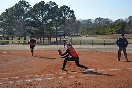 Kayleigh Medlin catches the ball for an out, Feb. 28. Shelby Hogland.