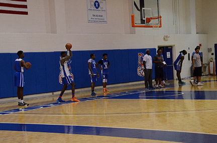 (From left) Fritz Lucien, Kevin Thomas-Griffin, Doniel Dean, and Paris Ballinger prepare for the upcoming season at a recent workout.