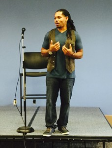 Devery Broox shares his poetic beat with Highlands students at the Floyd campus. Photo by Stacey Moffett.