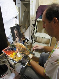 Frank Murphy at work in his home studio. Photo by Holly Chaney.