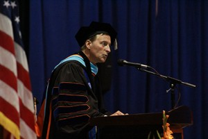 Dr. Greene speaking to the crowd at his inaugeration. Photo by Lydia Chandler.