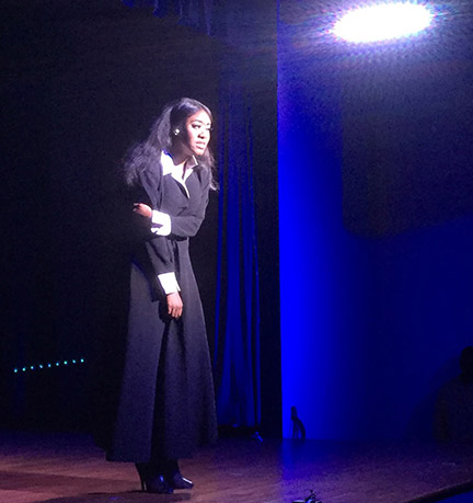 Candice Septymber Fifteenth Whitfield shows her array of emotions in the Lipstick Monologues. Photo by Holly Chaney