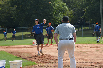 Nick Fink participates in GHC's baseball practice on Oct. 8. Photo by Shelby Hogland