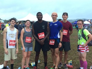 From left: Alex Jackson, Lauren Morrow, Marquis Holmes, Chris Hart, Morgan Brake, and Brett Arnold gather for a photo after their first competitive race of the year. Contributed photo.