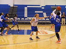 Lady Chargers Sydney Garanig, Danyelle Blankinship, Maria Croder, Alicia Johnson, Pamela Diokpaka and Taylor Harris practice for the game. Photo by Christina Goodwin
