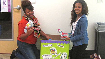 Ruby Baldwin (left) and Emorie Bonner collecting donations. Contributed photo.