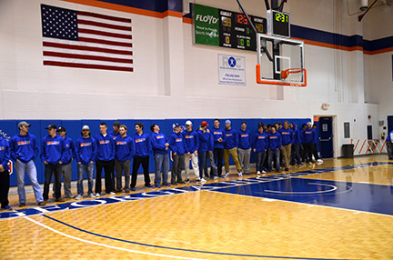 This year's Highlands' baseball players line up on the court during halftime at the Jan. 18 home Chargers basketball game. Photo by Taylor Barton