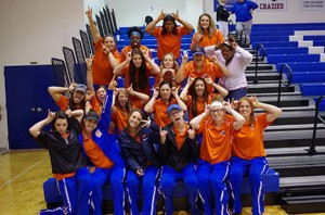 The Lady Chargers had a good time at the men's basketball game, where they were recognized at halftime, on Feb. 3 on the Floyd campus. Photo by Taylor Barton