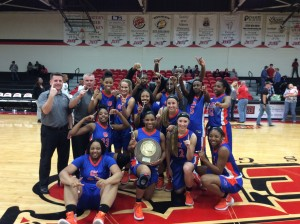 The GHC Lady Chargers show off their trophy at the GCAA Division I Championship, where they won 65-63. Contributed photo
