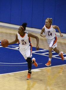 Taylor Harris (left) and Maris Crider dribble the ball into play. Photo by Taylor Barton