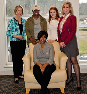 (From left) Diane Sakmar, President of AAUW in Cartersville, Sidney Cothron, GHC Student and AAUW member, Stephanie Ray, dual-enrollment student, GHC AAUW member, Connie Watjen, AAUW member and club adviser for GHC (front) Miriam Ward, president of AAUW at GHC. Photo by Stephanie Corona