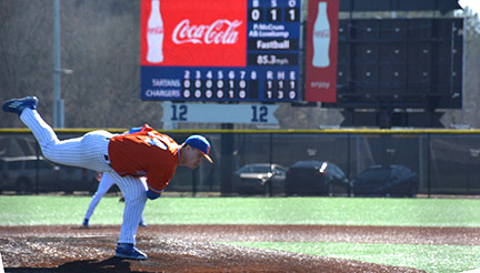 Zach McCrum pitches to an Ohio Sinclair batter. Photo by Jorge Tinoco Ramos