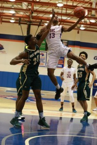Justin Bridges soars off the ground as he attempts a shot for the Chargers. Contributed photo