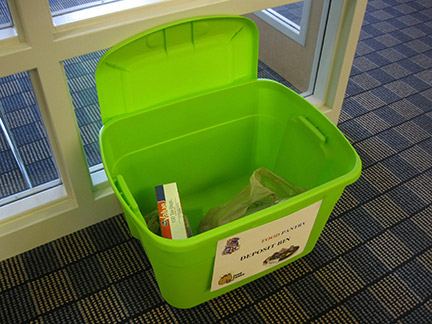 Baskets are located around GHC campuses so that students can donate food to the pantry. Photo by Daniel Smith