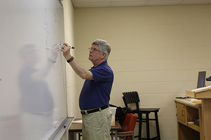 Johnny Duke writes a math formula in front of a Floyd campus class. Photo by Lydia Chandler