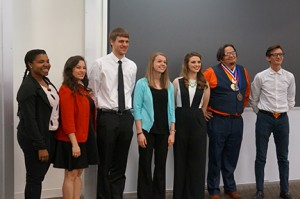 The GHC speech competition finalists (from left) were Kiki Thomason (third place), Bryce Pitts (first place), Jared Acremon (sixth place), Ashley Hudson (fourth place), Elizabeth Edwards (second place), Justin Jones (seventh place), and Josh Jones (fifth place). Photo by Sarah Cousar