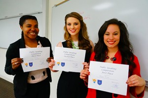 GHC student speech competition finalists (from left) were Bryce Pitts (first place), Elizabeth Edwards (second place) and Kiki Thomason (third place). Photo by Sarah Cousar