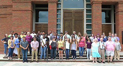 Multiple students, faculty and staff members participated in the 31st annual Alabama Shakespeare Festival trip to Montgomery, Ala., on April 30 - May 1. The participants gather on the steps of the theater before Sunday afternoon's play. Contributed photo