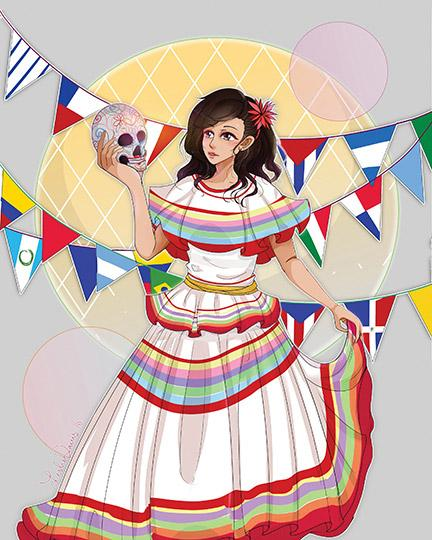 This traditional dress is accompanied with flags representing Hispanic nations. The decorated skull represents a tradition of decorating skulls as part of celebrating Day of the Dead. Art by Leslie Davis