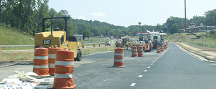 Construction crews work on roads near the Cartersville campus.Photo by Kaileb Webb