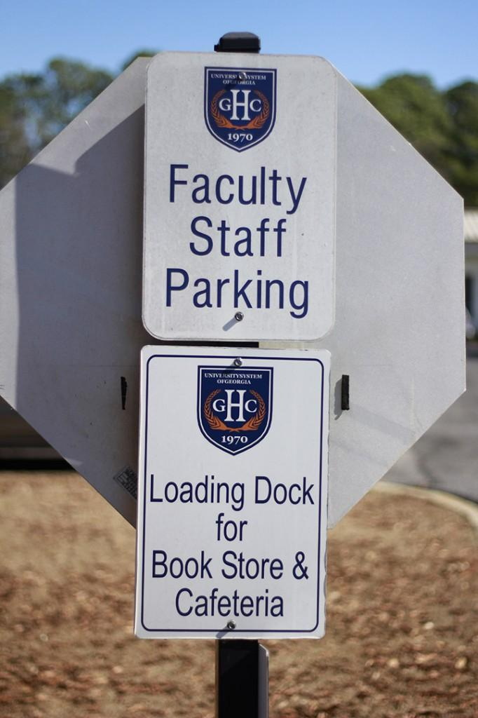 GHC's restricted parking sign on Floyd campus marks entrance to faculty/staff lot.  Photo by Shannon Francis