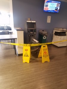 The ATM machine in the Floyd campus Student Center after someone attempted to break-in to it.  Photo by Kacey Neese