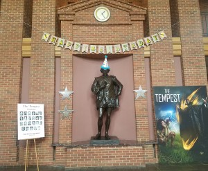 The statue of Shakespeare at ASF wears a party hat in honor of his April 23 birthday. Photo by Kacey Neese