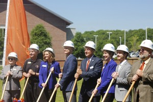 From left Renva Watterson Vice President for Academic Affairs,Todd Jones Vice President for Student Affairs, Leslie Johnson Cartersville Campus Dean, Steve Wrigley Chancellor of the University System of Georgia, Donald Green President of Georgia Highlands College, Mary Transue Vice President of Advancement, Lucas Lester Student Government President and  Jeff Davis Vice President of Finance & Administration participate in ground breaking at Cartersville campus. Photo by Kaileb Webb
